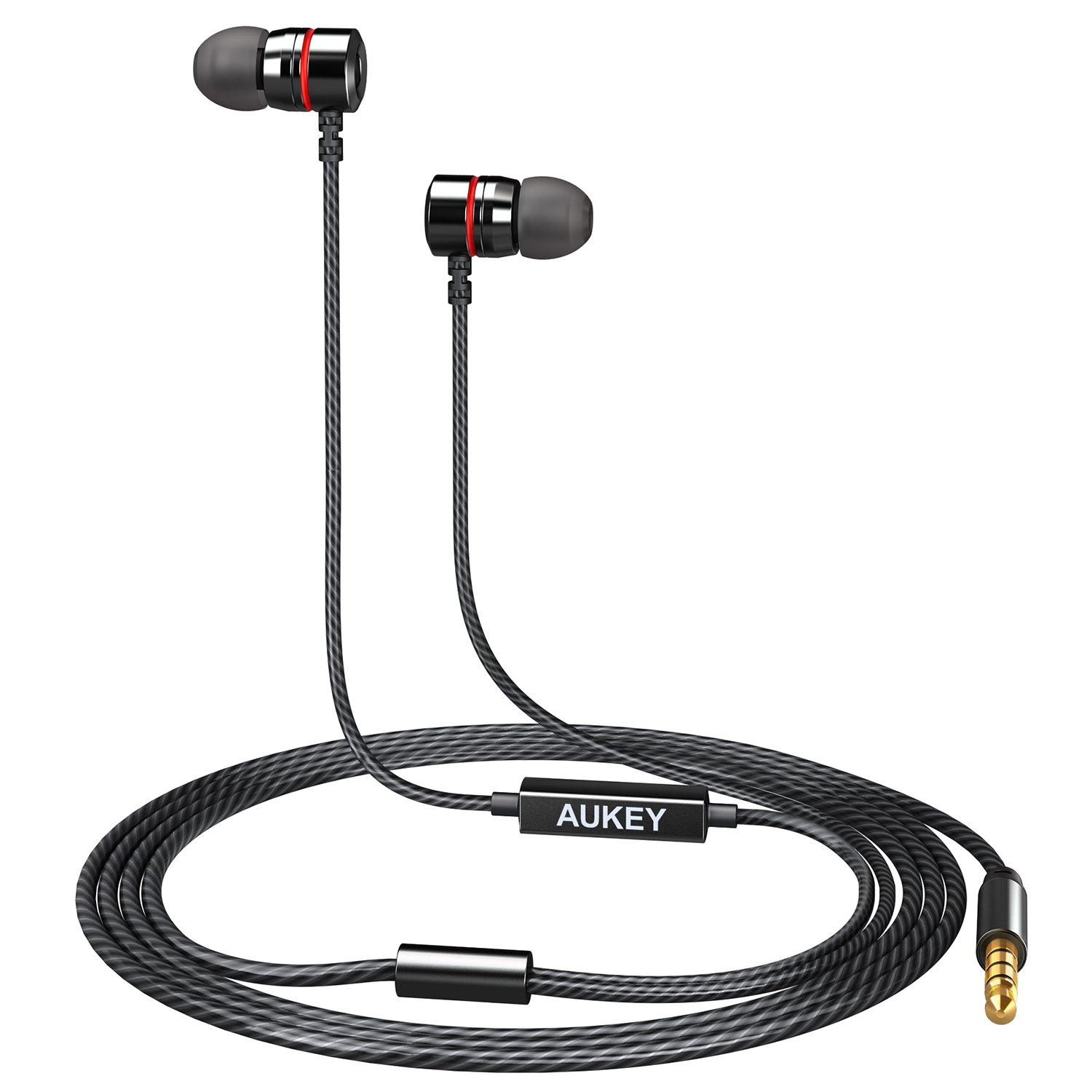 AUKEY Earbuds, In-Ear Wired Headphones with Metal Housing and Built-In Microphone for Smartphones, Laptops, and More