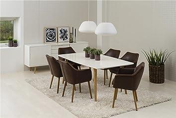 Ensemble Table Avec 6 Chaises Accoudoirs Groupe En Cuir Synthtique 7tlg Complet