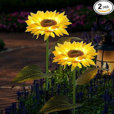 Solar LED Outdoor Lights, Waterproof Sunflower Garden