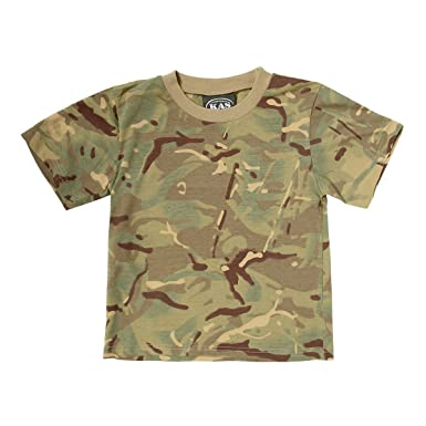 In Style; Kas Kids Boys Camouflage T-shirt Army Multi Terrain Camo 3-13 Years Quality Fashionable