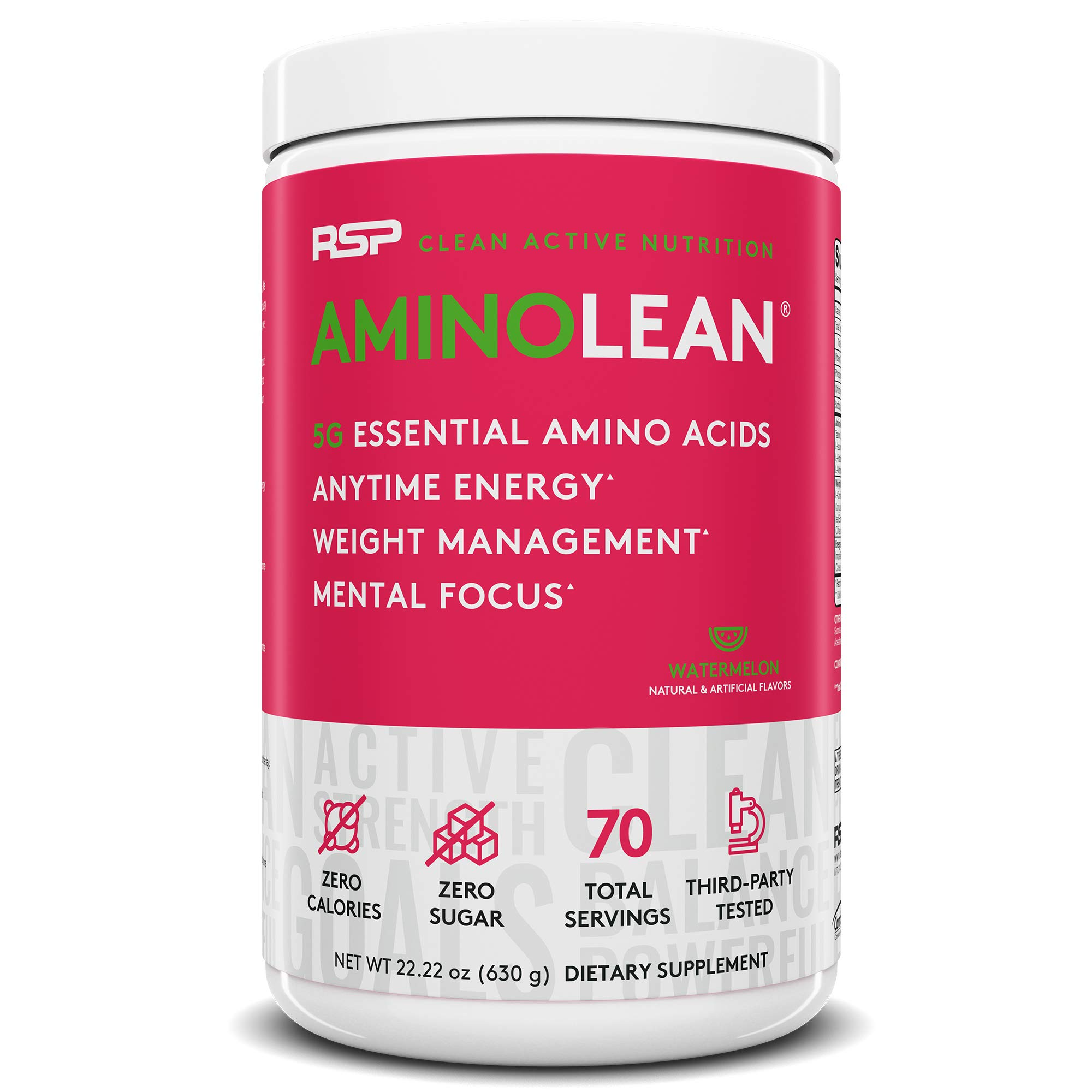 RSP AminoLean - All-in-One Pre Workout, Amino Energy, Weight Management Supplement with Amino Acids, Complete Preworkout Energy for Men & Women, Watermelon, 70 (Packaging May Vary) by RSP Nutrition
