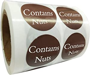 Contains Nuts Labels 1 Inch - Round Circle Dots 500 Adhesive Stickers (Contains Nuts Labels)