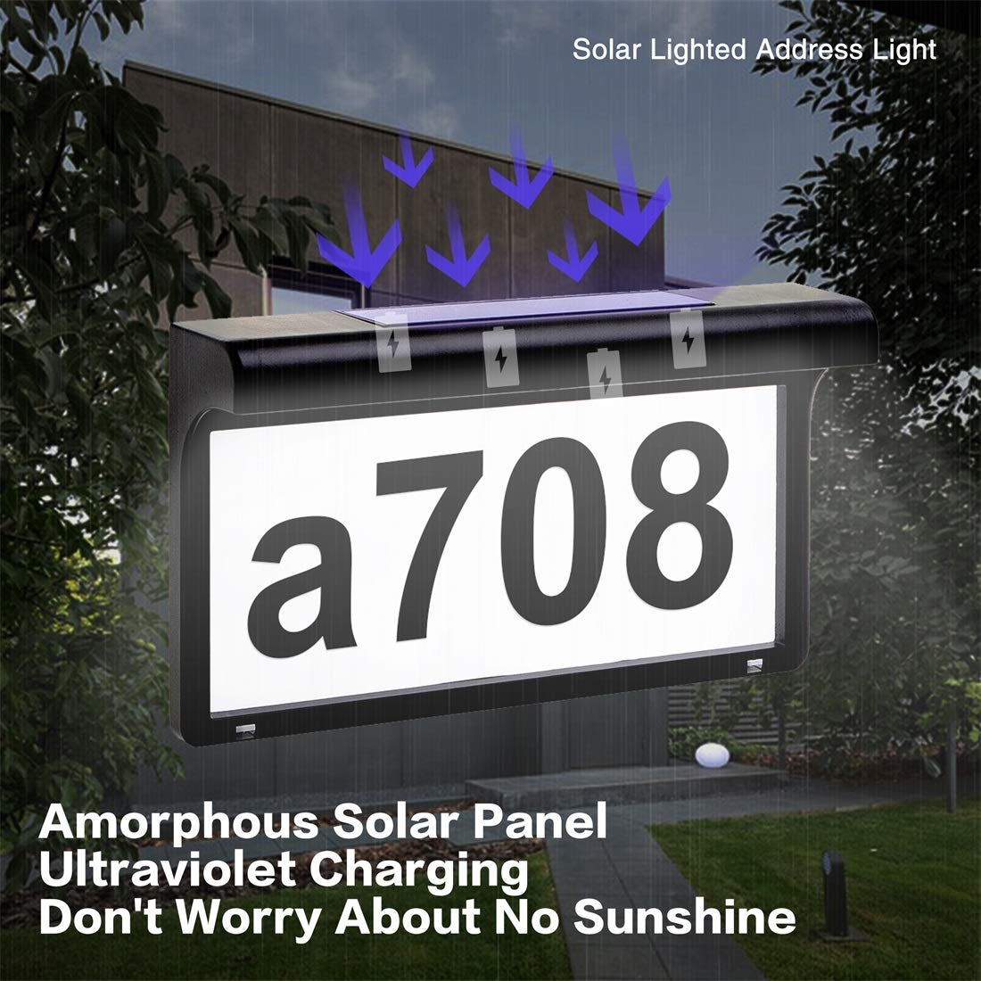 LeiDrail Address Numbers for Houses Solar Powered Address Sign LED  Reflective Illuminated House Number Outdoor Lighted Metal Plaque Light Up  for