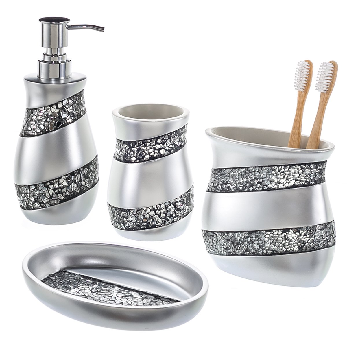 Creative Scents Bathroom Accessories Set, 4-Piece Silver Mosaic Glass Luxury Bathroom Gift Set, Includes Soap Dispenser, Toothbrush Holder, Tumbler & Soap Dish - Finished in Stunning Silver