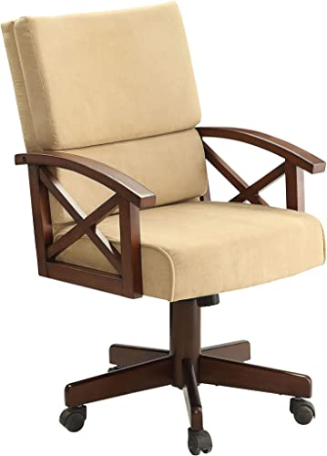 Marietta Upholstered Arm Game Chair Rustic Tobacco and Tan - a good cheap living room chair