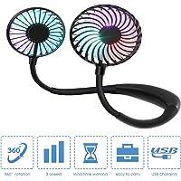 CORST Draagbare nekventilator, handvrij, persoonlijke ventilator, draagbare USB-ventilator, bureauventilator met led…