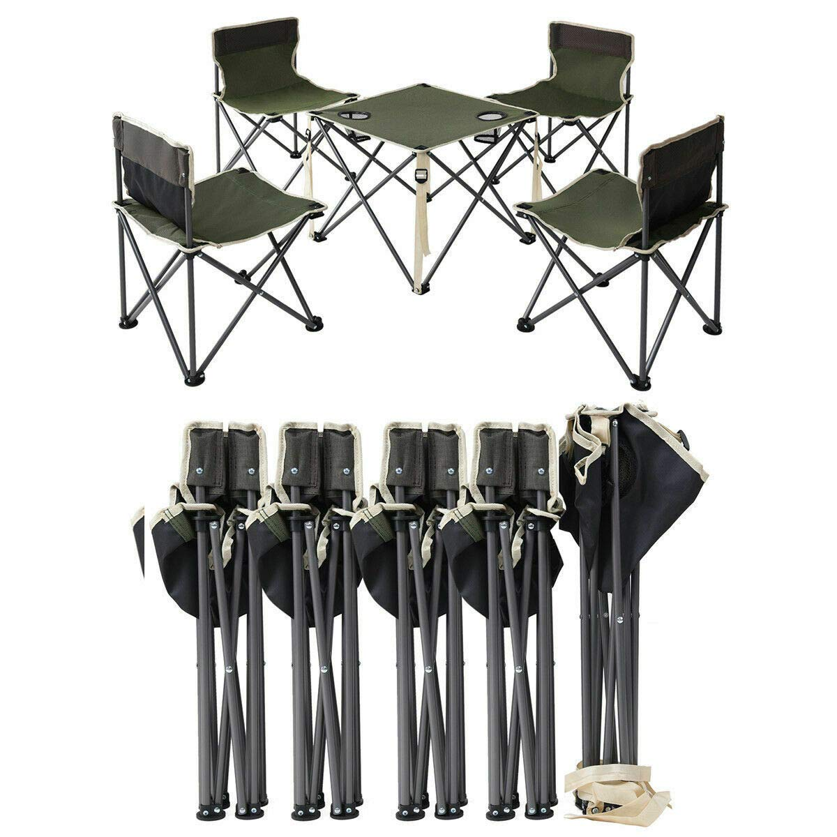 ANA Store Enjoy Barbecue Party Curl Stand Iron Stell Frame Green Oxford Portable Folding Table Chairs Set Inside Outside Camp Beach Picnic with Carrying Bag by ANA Store (Image #1)