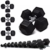 Sporteq Hexa Hex Rubber Dumbbells Hexagonal Weighted (Pair x Set Solid 3KG to 15KG)