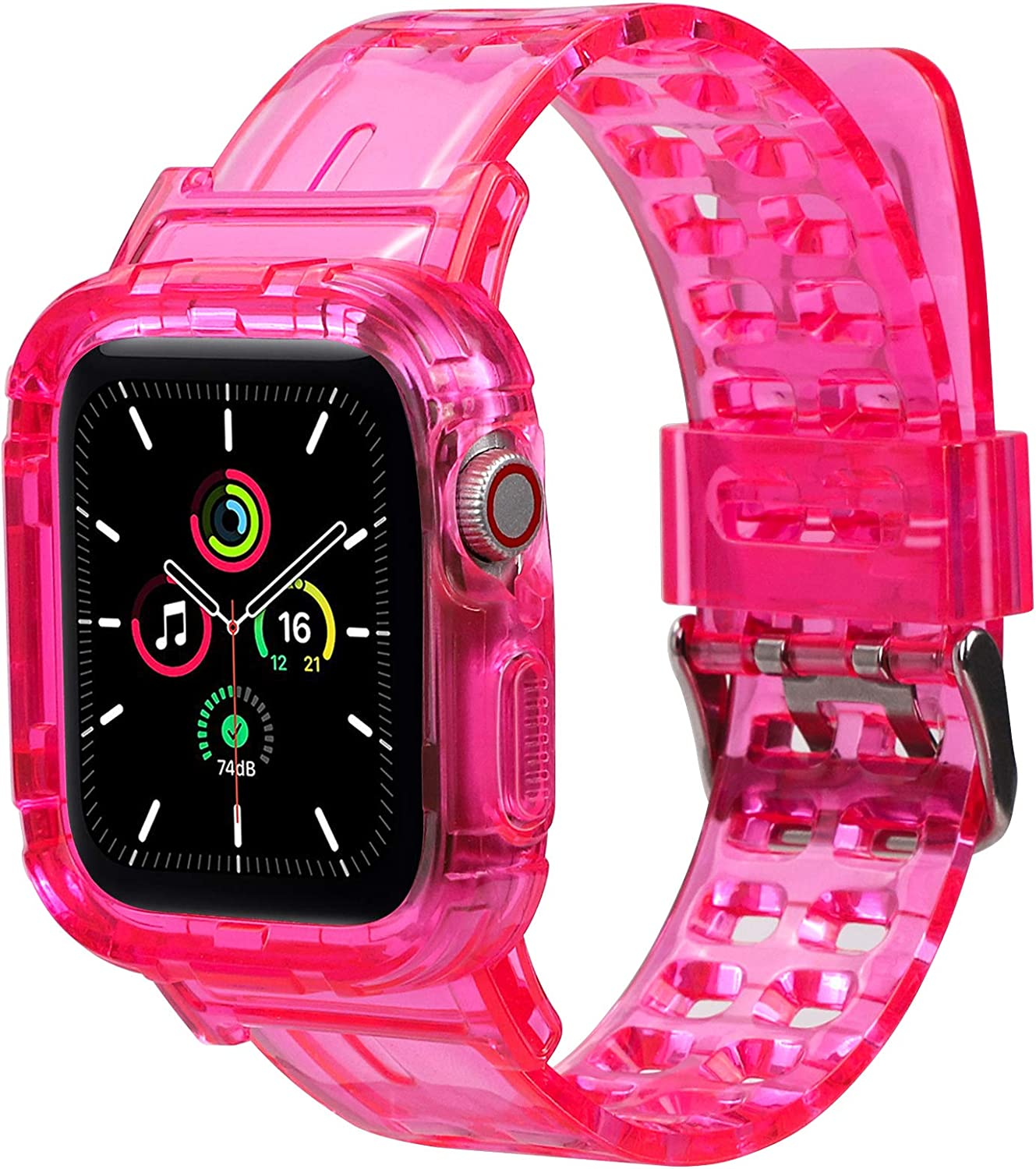 Jelanry Compatible with Apple Watch Bands 38mm 40mm 42mm 44mm, Sport Soft Silicone iWatch Bands for Women Men Wristbands Replacement Strap with Classic Clasp for iWatch Series SE 6 5 4 3 2 Pink