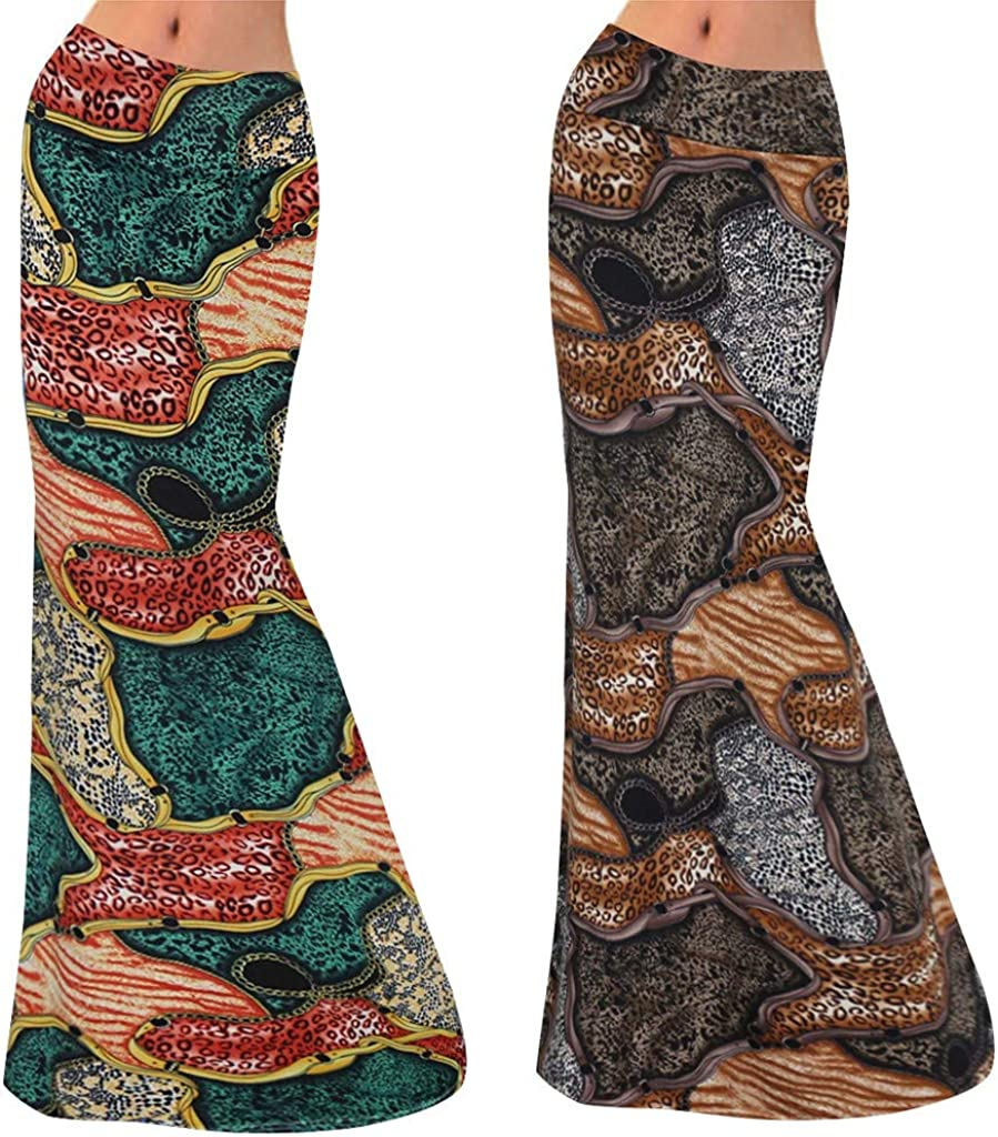 VEZAD Women Summer High Waist Printed Bodycon Comfort Long Maxi Skirt
