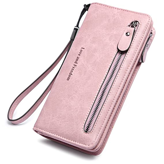 7e407aa766 Image Unavailable. Image not available for. Color  Women Wallet Wrist Band Long  Purse Phone Card Holder Clutch Large Capacity Pocket