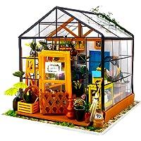 Fsolis DIY Dollhouse Miniature Kit with Furniture, Mini Green Dollhouse Garden 3D Wooden Miniature House, Flower House…