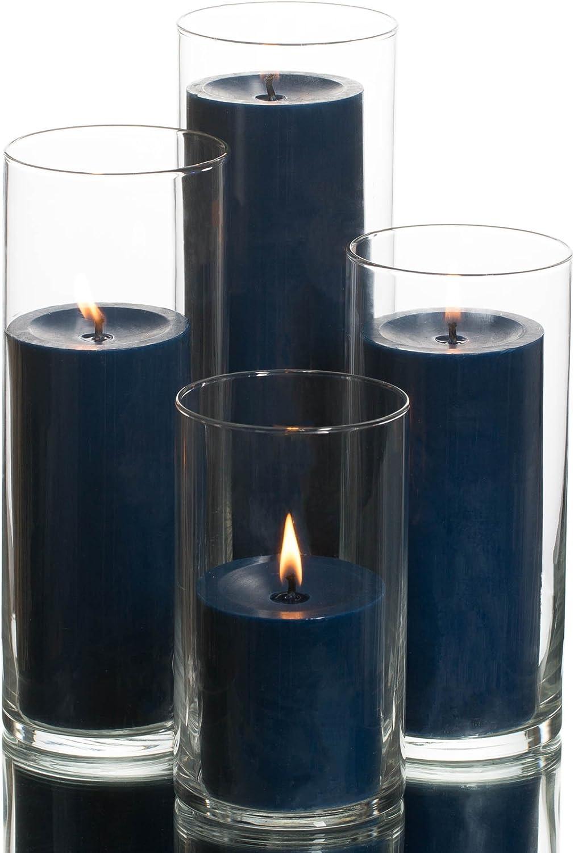 Eastland Cylinder Pillar Holder & Richland Pillar Candles Navy Blue Set of 4