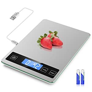 Mik-Nana Food Scale USB Rechargeable, 11lb Digital Kitchen Scale Weight Grams and Ounces for Baking and Cooking, 1g/0.1oz Precise Graduation, Stainless Steel and Tempered Glass, LED Backlit Display