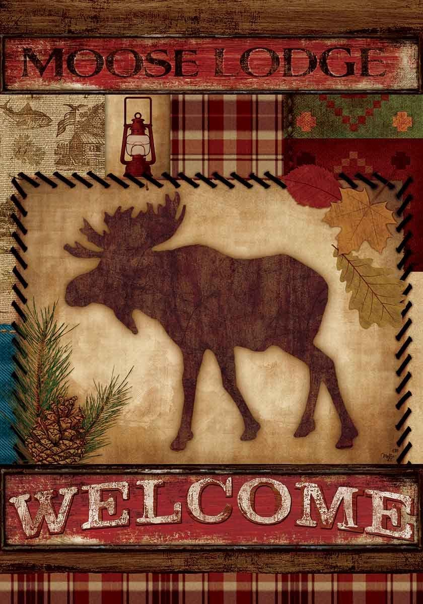 """"""" Welcome Moose """" - Double Sided, Garden Size, 12 Inch X 18 Inch Decorative Flag"""