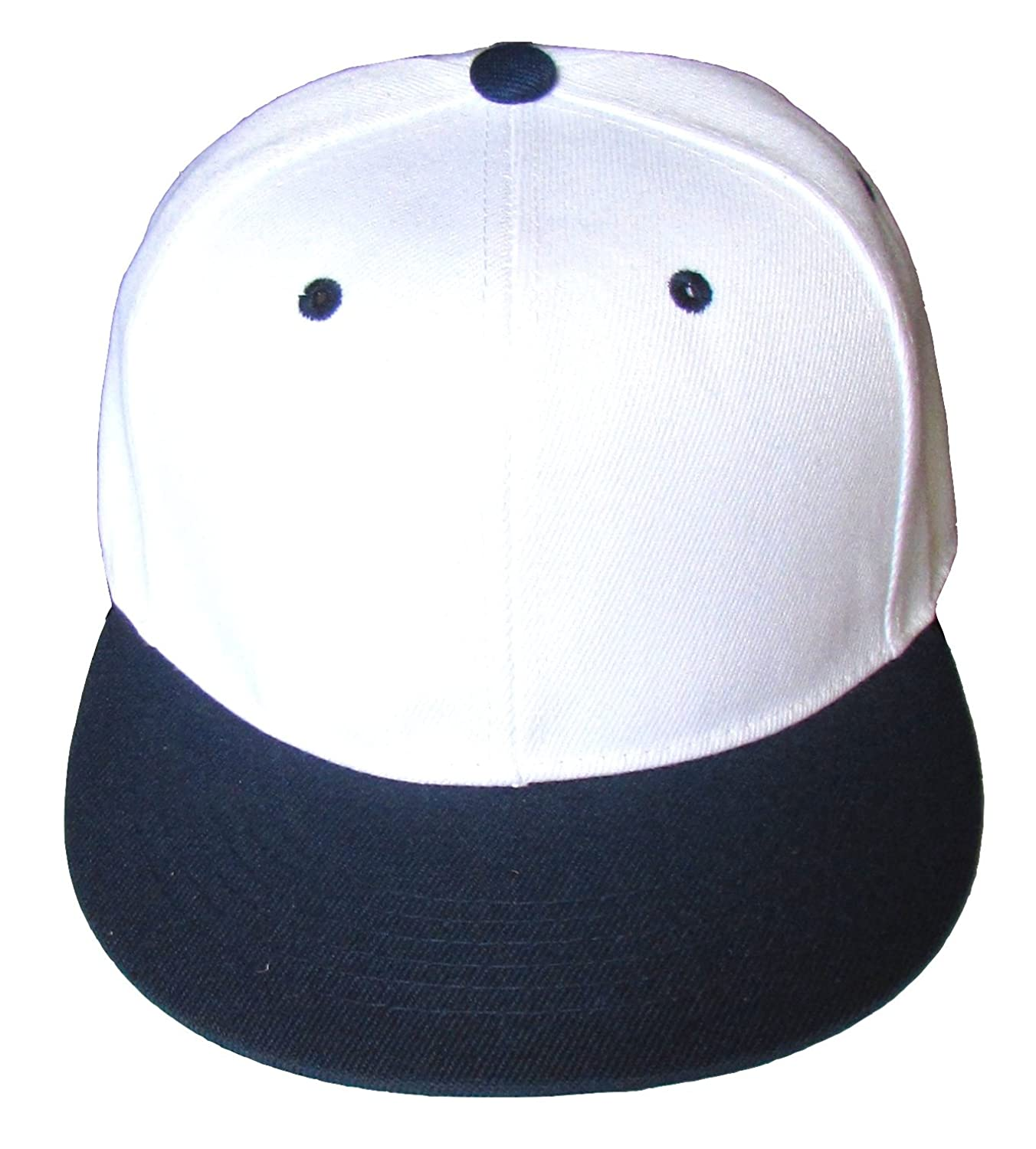 NGH Premium Plain Two-Tone Flat Bill Snapback Hat - Baseball Cap (White Navy  Blue) at Amazon Men s Clothing store  9ac8a034df89