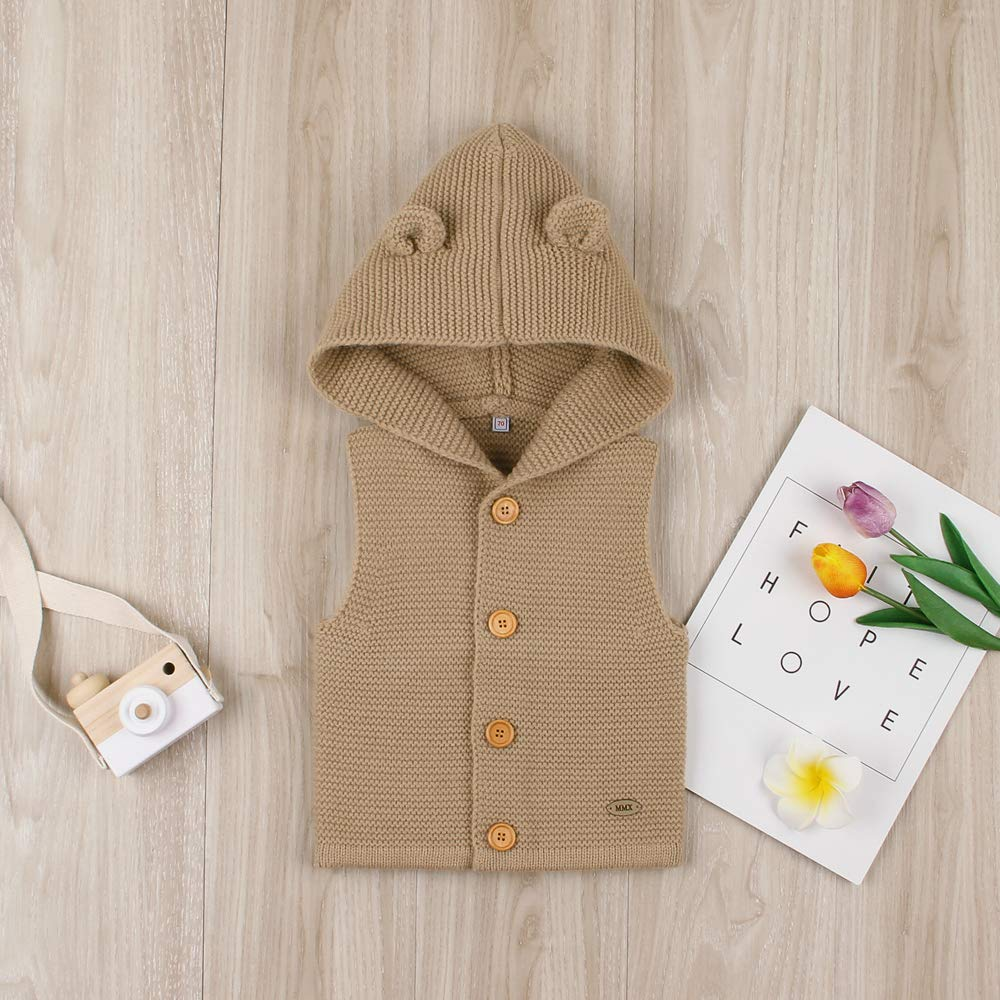 Newborn Infant Jacket Vest Baby Knitted Sleeveless Hooded Sweater Autumn Winter Warm Pullover