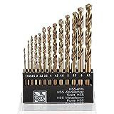Gizhome High Speed Steel Twist Drill Straight Shank Titanium Twist Drill Hand Drill Hole Set - 13 Pack