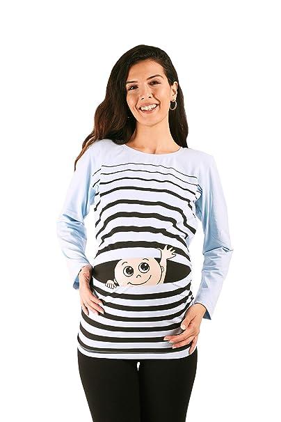 a64691fa2 Hola bebé - Camiseta premamá Sudadera con Estampado para el Embarazo ...