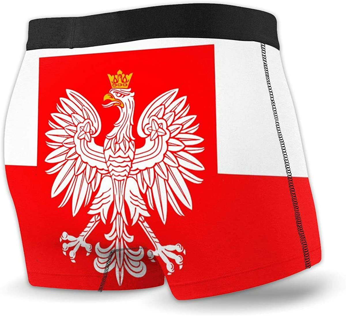 Poland Flag with White Royal Eagle Mens Underwear Funny Boxer Brief