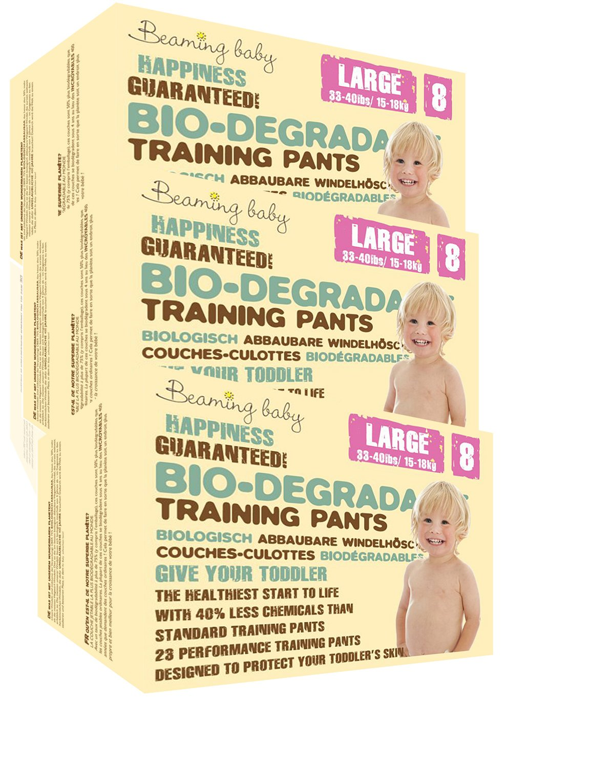 Pack Of 3 Beaming Baby Biodegradable Large Training Pants (Size 8) 69 Nappies