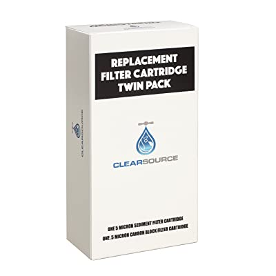 Clearsource Replacement Water Filter Cartridge Twin Pack with 5 Micron Sediment Filter and .5 Micron Carbon Block Filter: Sports & Outdoors [5Bkhe1512983]
