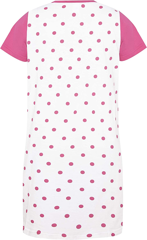 Disney Minnie Mouse Nightie Ladies Womens Nightdress 100/% Cotton Pink Polka Spot