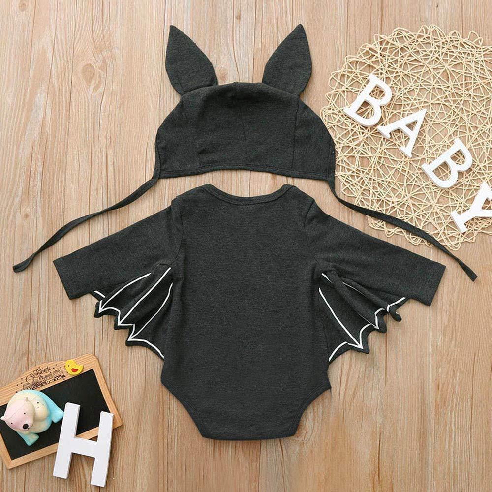 DEELIN Halloween Cosplay Bat Sleeve Romper + Cartoon Ear Hat NiñO ReciéN Nacido Baby Boy Girl Halloween Cosplay Traje Jumpsuit Hat Costume Negro