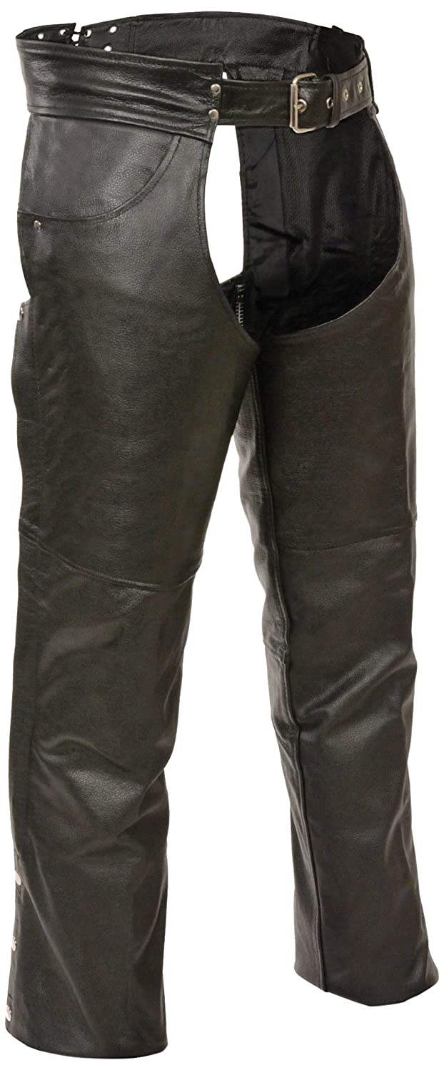 Event Biker Leather Men's Buffalo Split Leather Plain Lined Chaps (Black, X-Large) EL1101-BLK-XL
