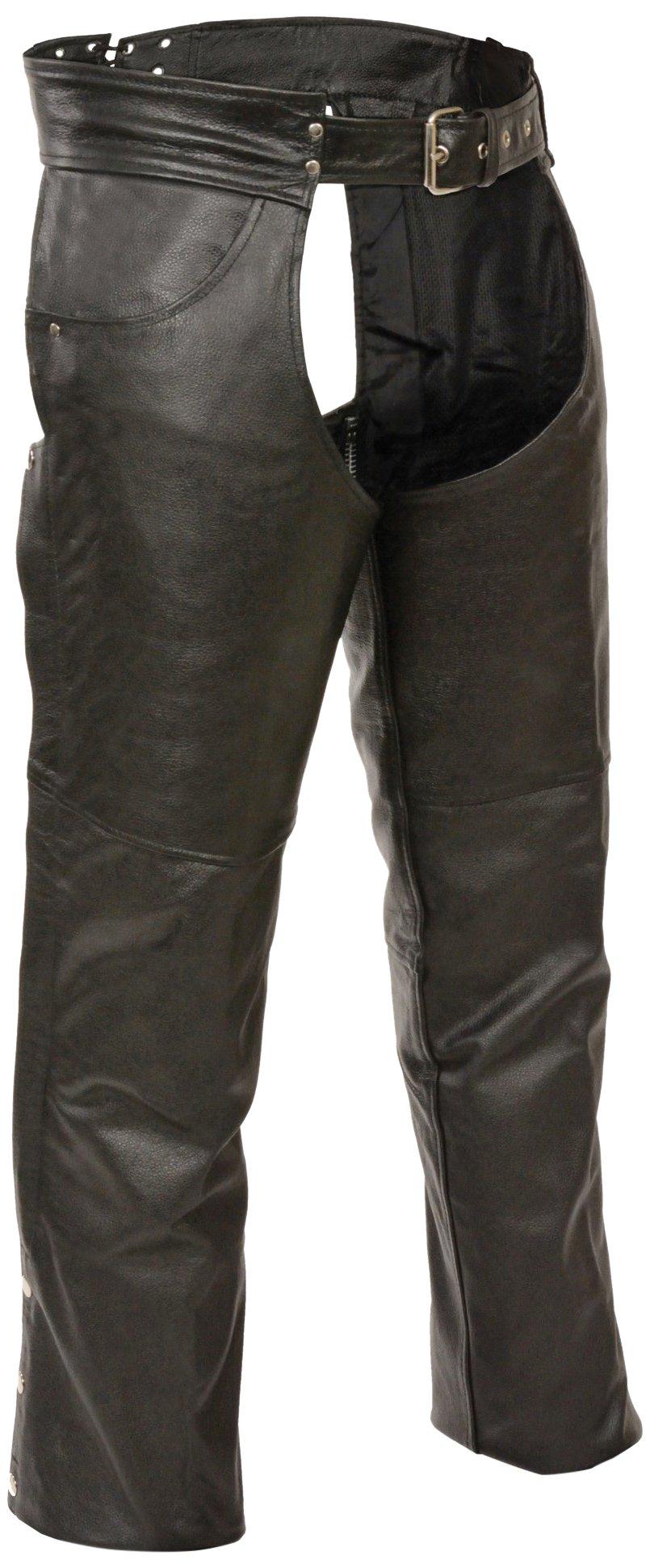 Event Biker Leather Men's Buffalo Split Leather Plain Lined Chaps (Black, X-Large)