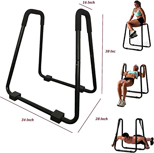 Athletic Bar Dip Station Body Press Dip Stand Workout Station Push Up Pull Up Fitness Parallel Bars Power Tower Heavy Duty 600 Pound Weight Capacity