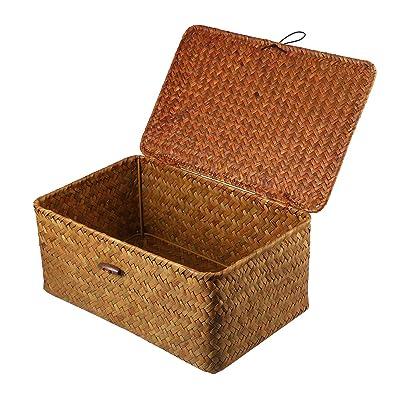 VOSAREA 1PC Seaweed Basket with Button Woven Basket Straw Woven Box Desktop Storage Box Hand-Woven Storage Basket - Size L : Garden & Outdoor