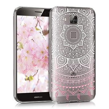 kwmobile Funda para Huawei G8 / GX8 - Carcasa de TPU para móvil y diseño de Sol hindú en Rosa Claro/Blanco/Transparente