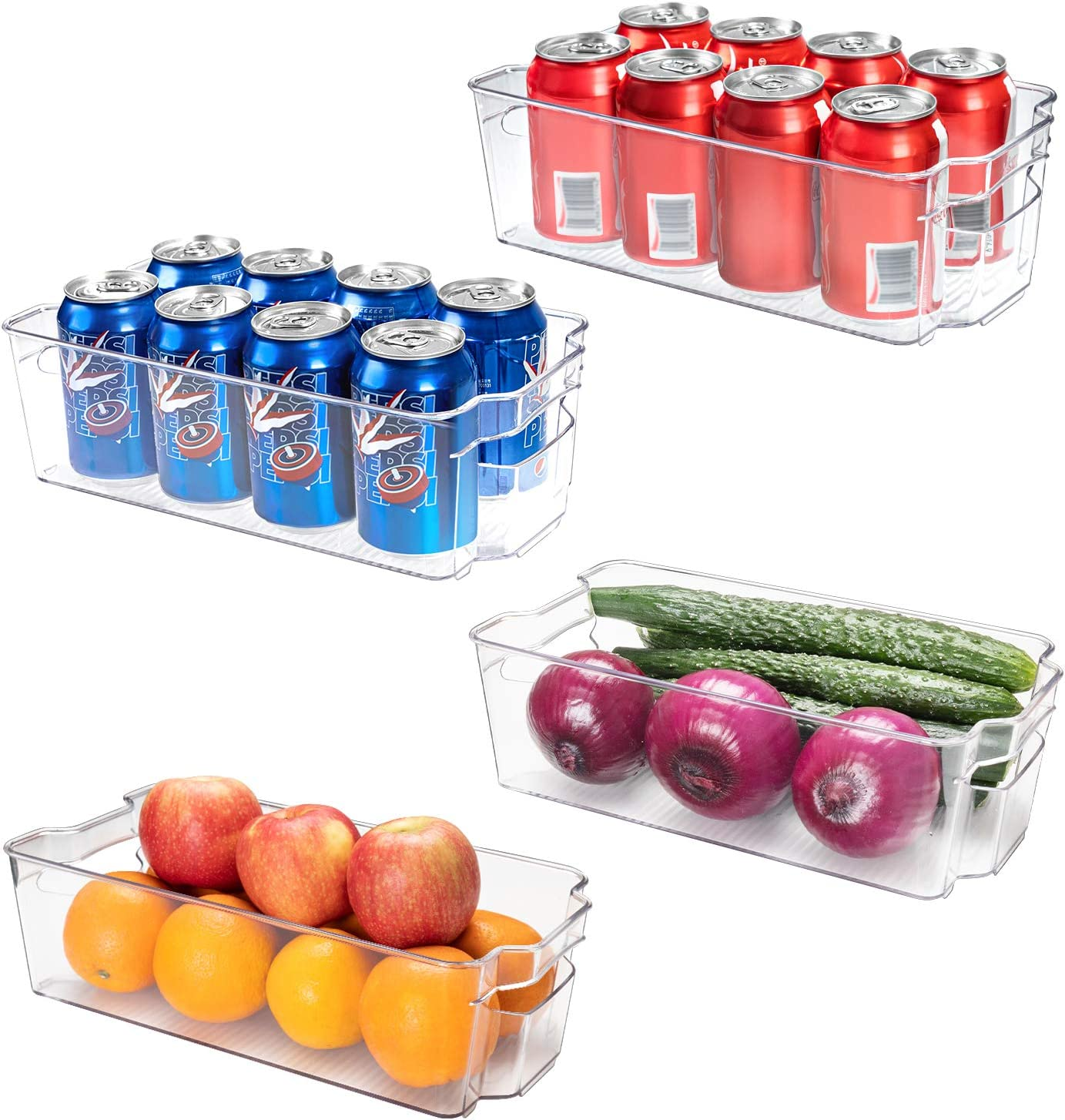 SMARTAKE Refrigerator Organizer Bins, 4-Pack Food Storage Bins, Clear Plastic Stackable Soda Can Organizer with Handle, for Freezer Cabinet Fridge Kitchen Organization and Storage (4 Medium)