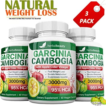 Pure Garcinia Cambogia Extract Apple Cider Vinegar 3000mg Capsules All Natural Weight Loss