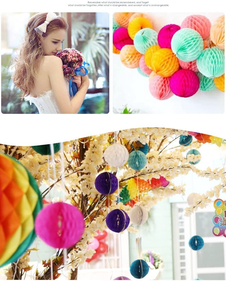 5cm Sopeace 2 2inch Pack of 20 Multi-Color Mixed Small Decorative Tissue Paper Honeycomb Balls Hanging Decorative Balls Tissue Lantern for PArty Wedding Baby Shower Room Decor Christmas Decor