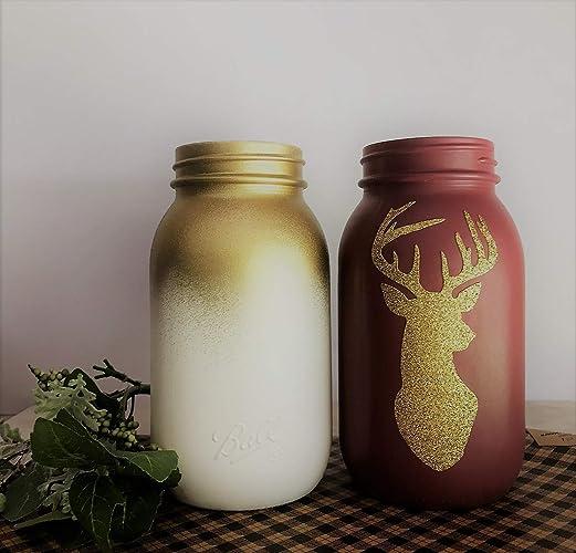 Amazon Com Glitter Christmas Theme Painted Mason Jars Farmhouse