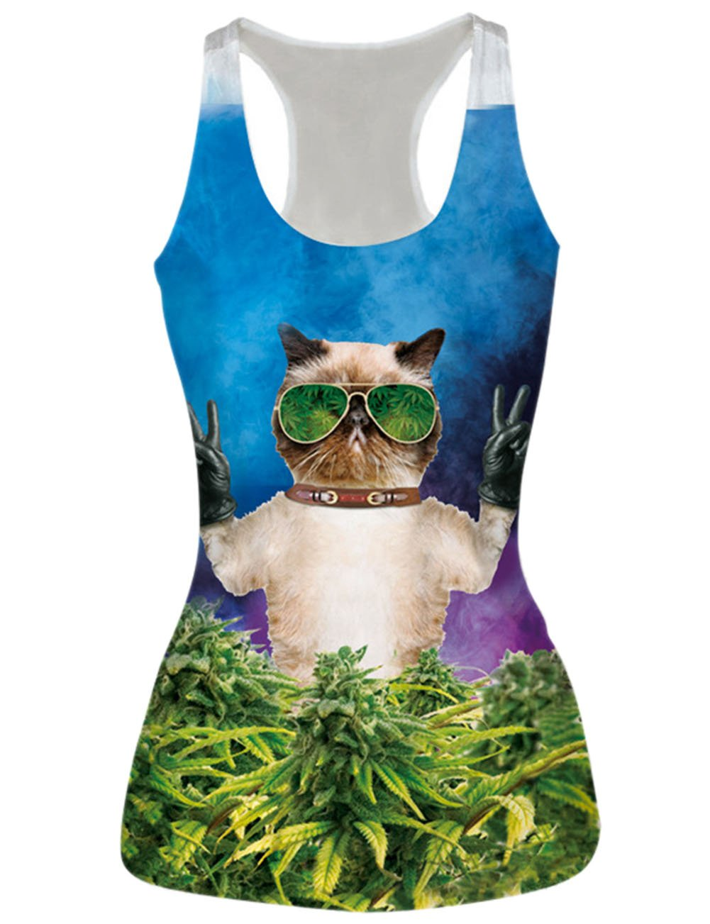 RAISEVERN Cat with Glasses Printed Sleeveless Shirts Vest Tank Tops,Cat2,One Size