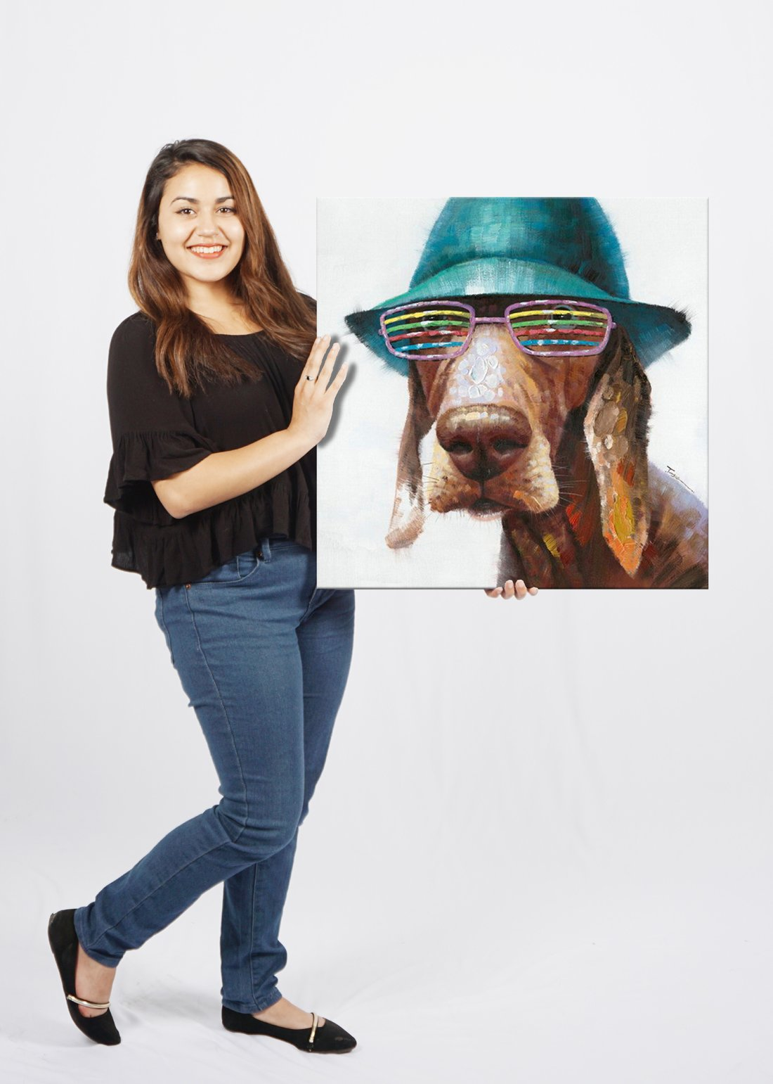 SEVEN WALL ARTS - 100% Hand Painted Oil Painting Animal Cute Dog Wears Colorful Glasses with Stretched Frame 24 x 24 Inch by SEVEN WALL ARTS (Image #5)
