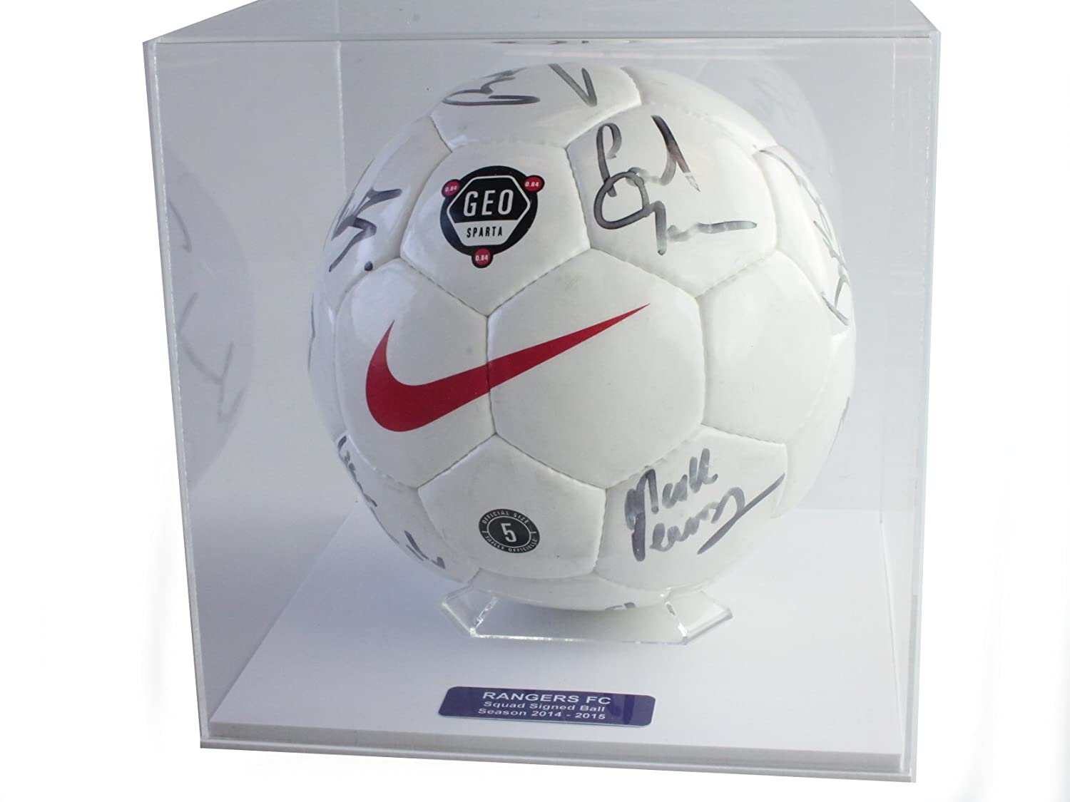 Acrylic Football Display Case with Primo white base and FREE personalised plaque Dream Keepers Ltd