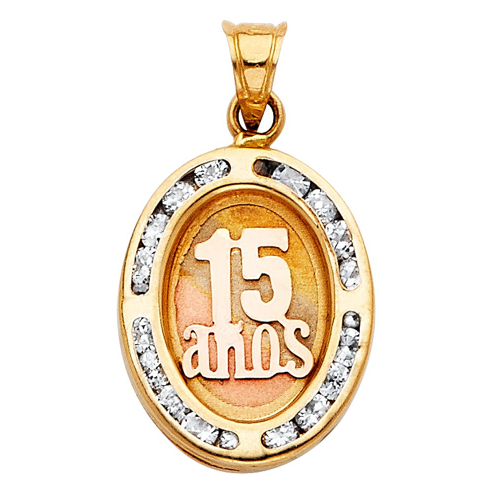 17mm x 14mm Million Charms 14K Tri-Color Gold with White CZ Accented Small//Mini 15 Years Birthday or Anniversary Charm Pendant