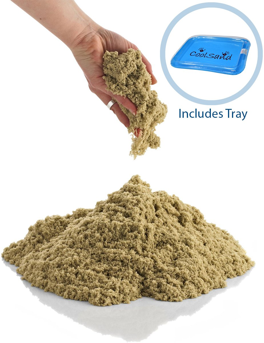 CoolSand 5 lb. Refill Bucket with Inflatable Sandbox, Kinetic Play sand for All Ages - Patented Formula - (Natural)