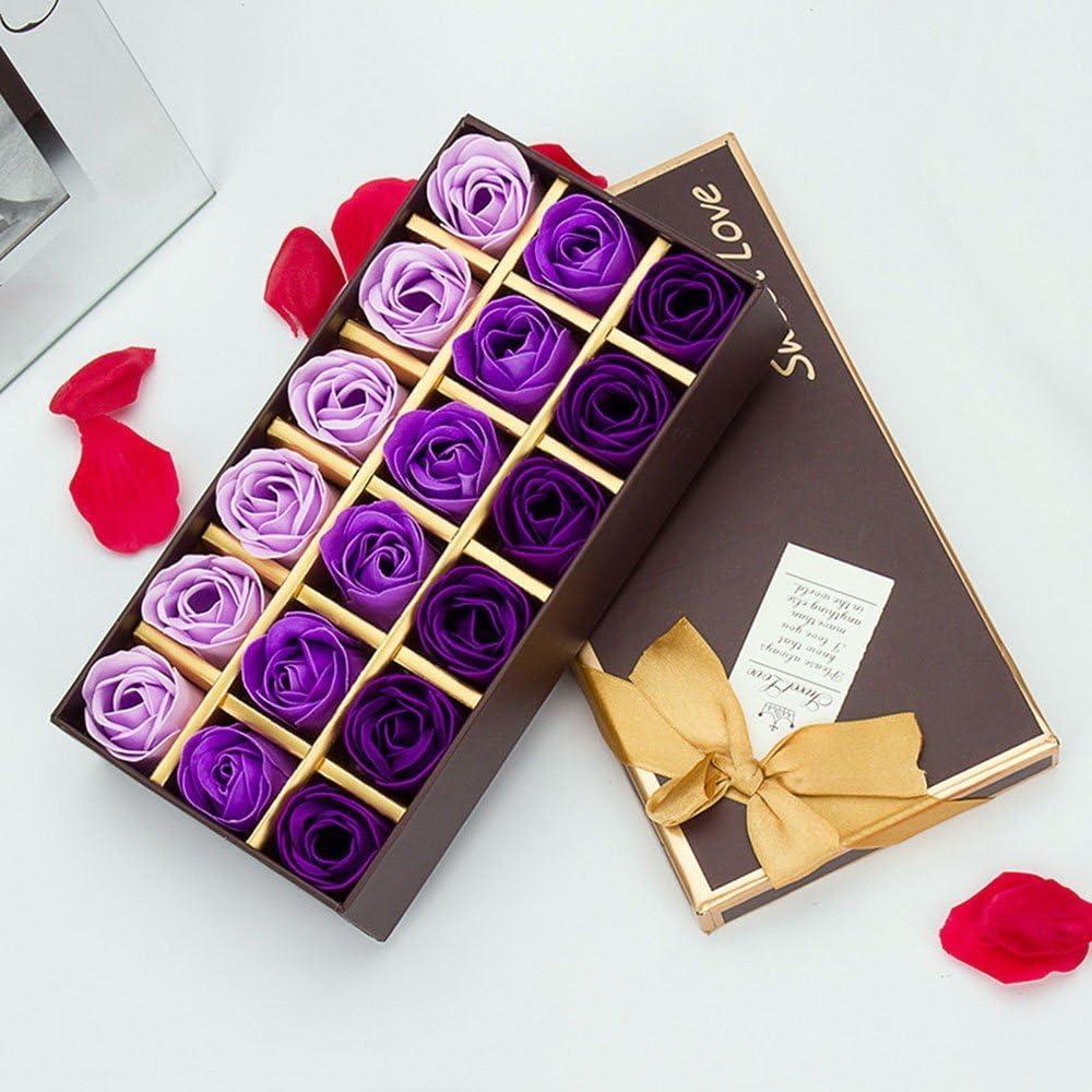 18pcs Aroma de Rosa Baño Jabón Rose Flor en Caja de Regalo Color del Gradiente Fascinante Ramo de Rosas(Púrpura) - Gearmax
