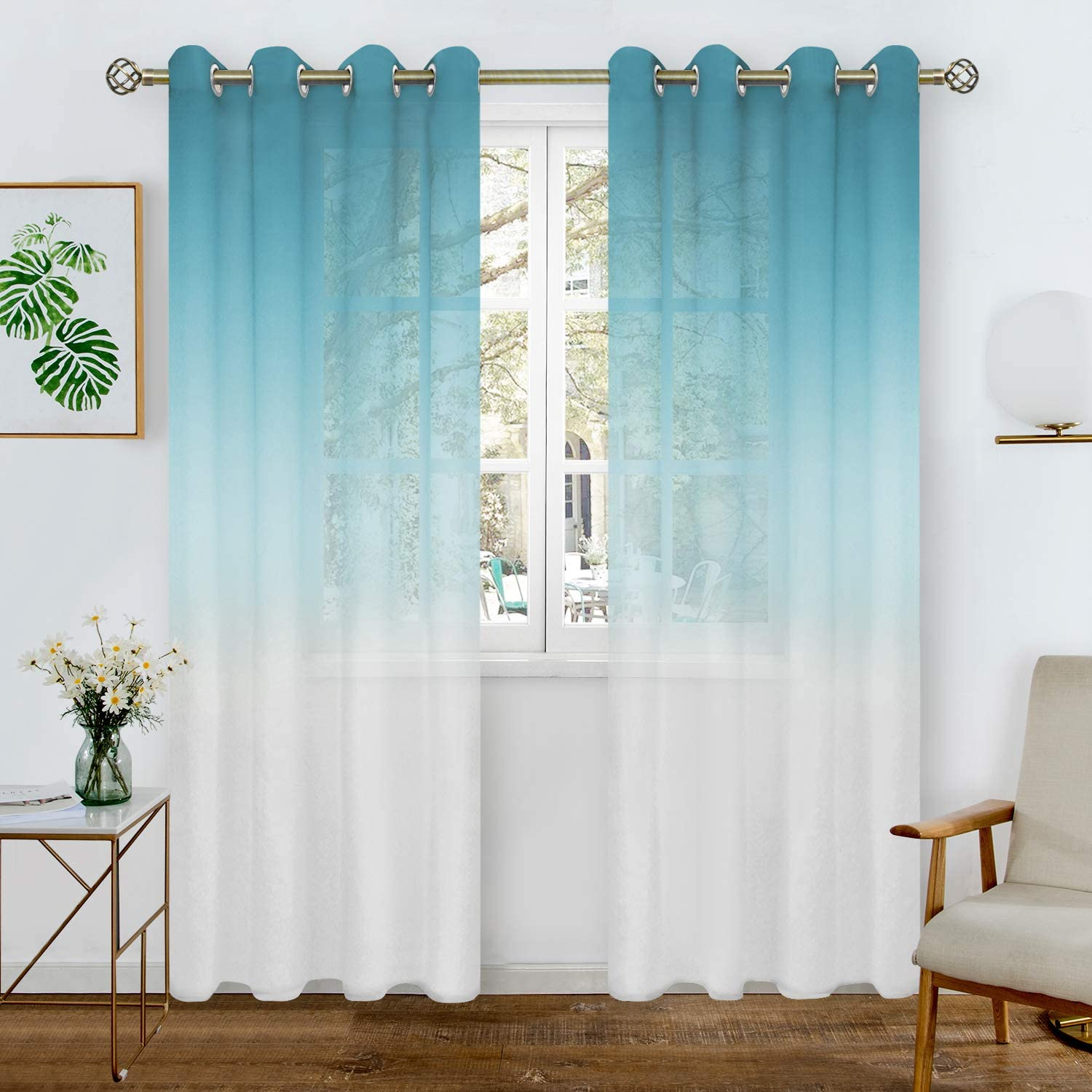 2 Panels of 52 x 72 Inch BGment Faux Linen Ombre Sheer Curtains for Living Room Black Grommet Semi Voile Light Filtering and Privacy Curtains for Bedroom