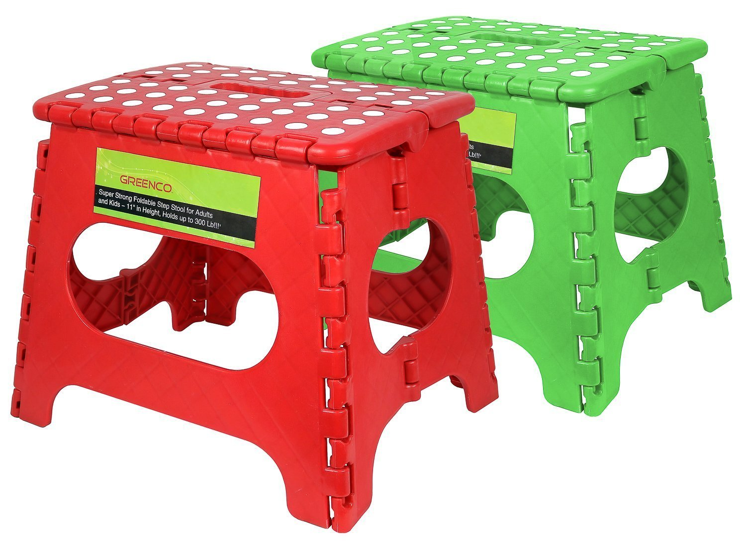 Greenco Super Strong Foldable Step Stool for Adults and Kids - 11 Inches in Height, Holds up to 300 Lb (2 Pack - Red, Green)