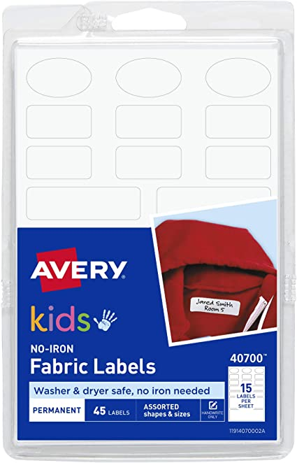 Printed Iron on School Uniform Nursery Clothes Name Tags Labels waterproof