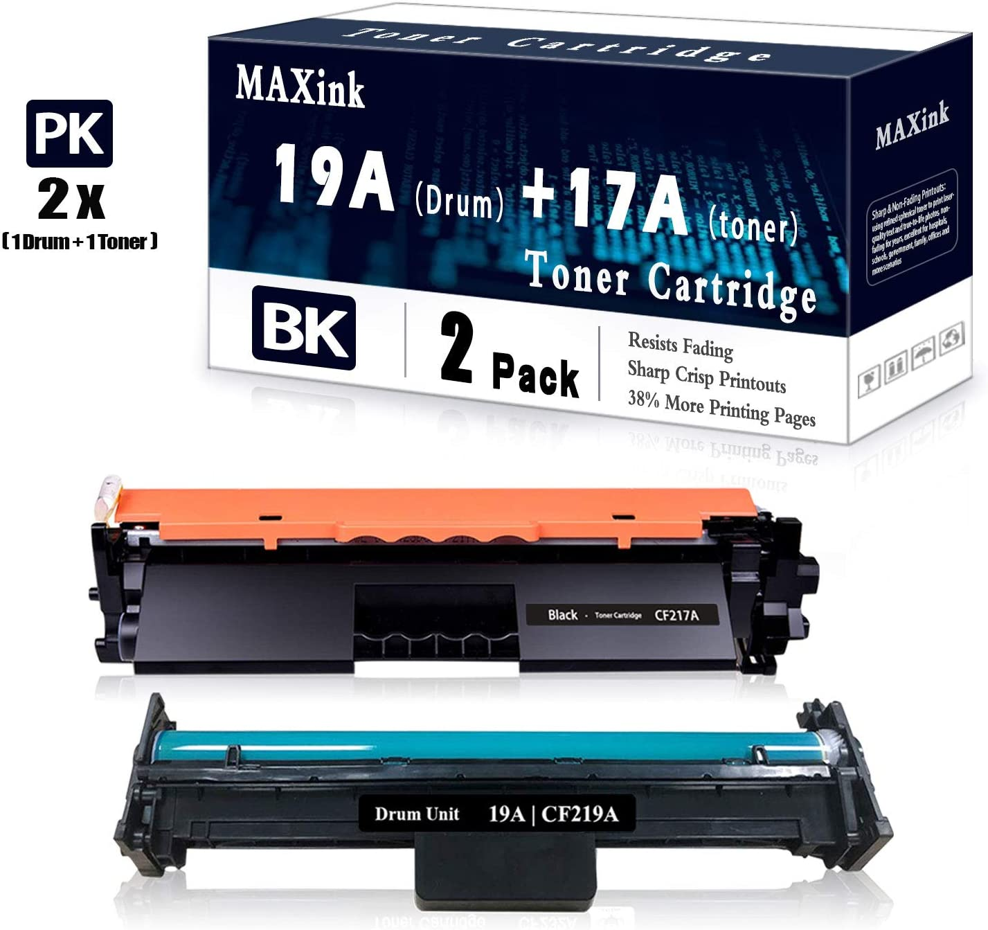 2 Pack 1 Black 17A Toner + 1 Pack 19A Drum Cartridge Replacement for HP Laserjet Pro MFP M130a M130nw M130fn M130fw M102a M130fw Printer