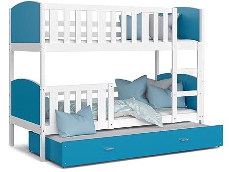 Kids - Cama de 3 plazas Tomy 90 x 190 cm, Color Blanco y ...
