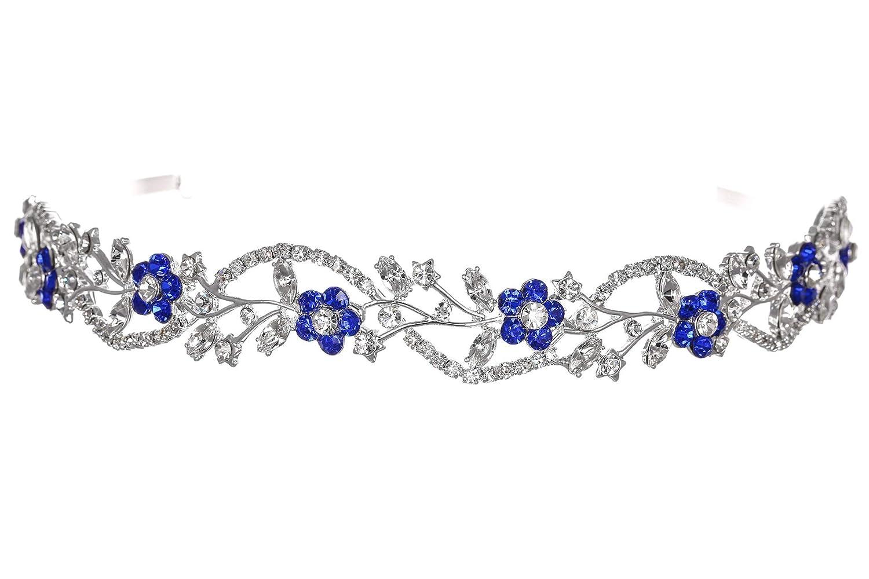 Women/'s Flower Vine Tiara Silver Plated Metal Flexible Blue Rhinestone Crystal