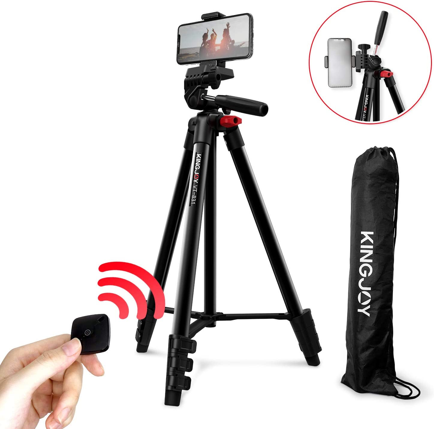 KINGJOY Lightweight Travel Tripod, 53-inch Aluminum Camera Tripod with Bluetooth Remote Cell Phone Mount, Video Tripod for Camera and Phone, Compatible with iPhone/Android VT-831